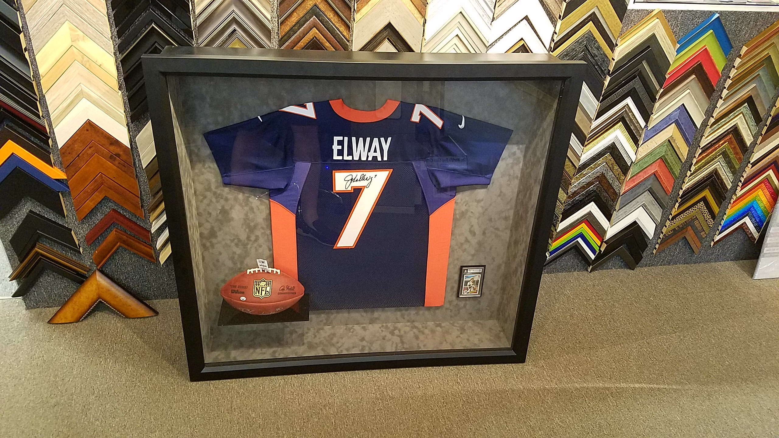 Custom built shadowbox for a John Elway Fan