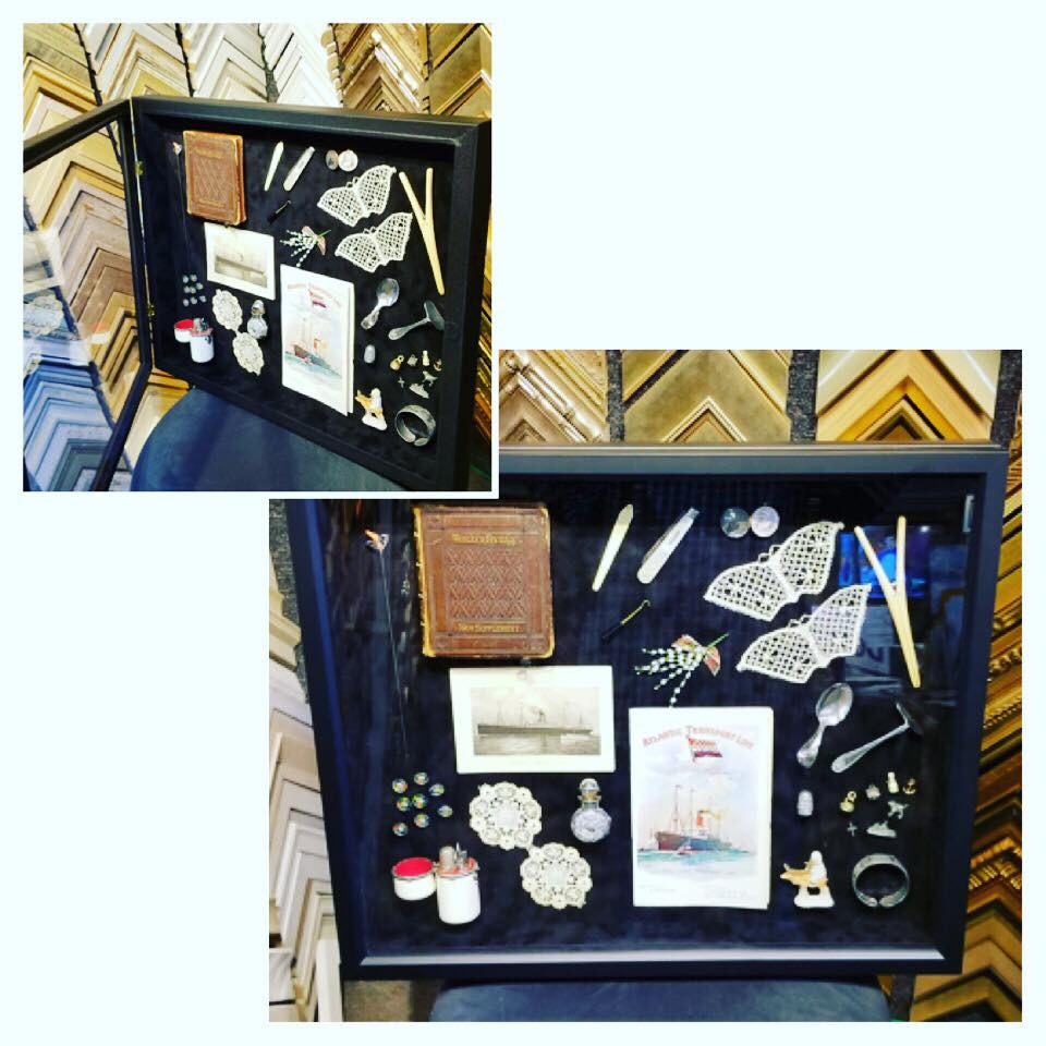 Custom shadowbox of heirlooms