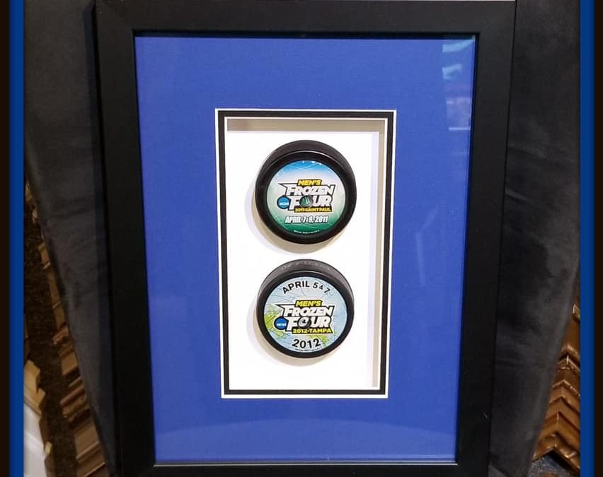 Frozen Four Hockey Pucks Shadowbox